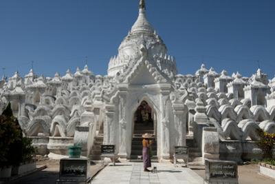 Woman Outside Hsinbyume (Or Myatheindan) Pagoda, Mingun, Myanmar (Burma)