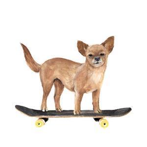 Pups on Wheels I by Annie Warren