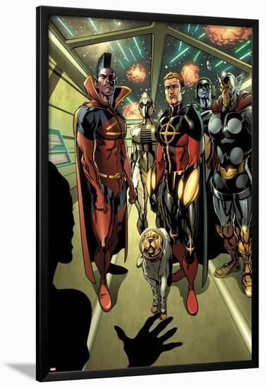 Annihilators: Earthfall No.1: Gladiator, Quasar, Beta-Ray Bill, and Cosmo Standing Together-Tan Eng Huat-Lamina Framed Poster