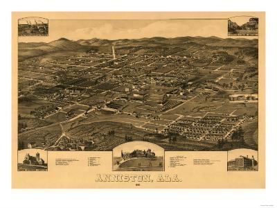 Anniston, Alabama - Panoramic Map-Lantern Press-Art Print