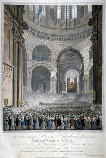 Anniversary Meeting of the Charity Children in St Paul's Cathedral, City of London, 1826-Robert Havell the Younger-Giclee Print