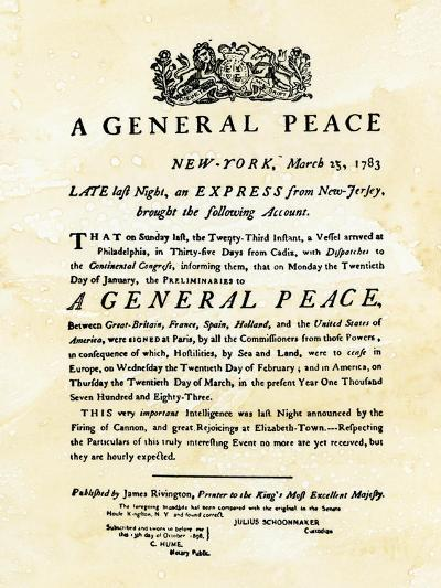 Announcement of Peace Treaty Ending the Revolutionary War, Printed in New York City, March 25, 1783--Giclee Print