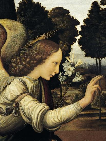 Announcing Angel, Detail from Annunciation, 1472-1475-Leonardo da Vinci-Giclee Print