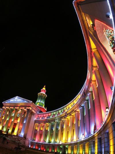 Annual Holiday Light Display Illuminates the Denver County Building, Seen Through a Fisheye Lens--Photographic Print