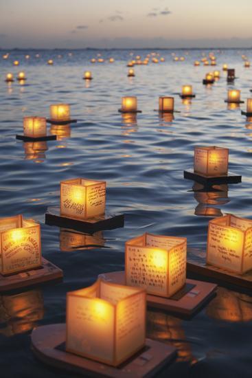 Annual Lantern Floating Ceremony During Sunset at Ala Moana; Oahu, Hawaii, United States of America-Design Pics Inc-Photographic Print