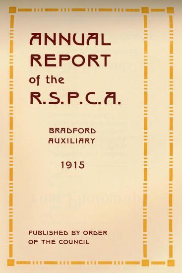 'Annual Report of the R.S.P.C.A.', 1916-Unknown-Giclee Print
