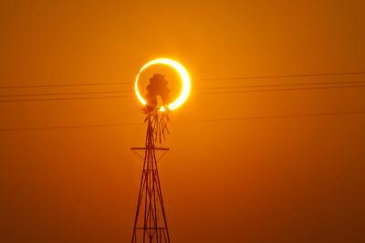 Annular Solar Eclipse and Windmill in New Mexico-Mike Theiss-Photographic Print