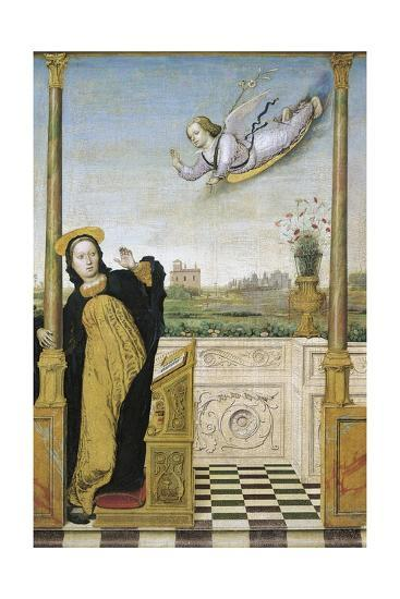 Annunciation, Central Panel of Annunciation with Saints Triptych, 1490-1500-Carlo Braccesco-Giclee Print
