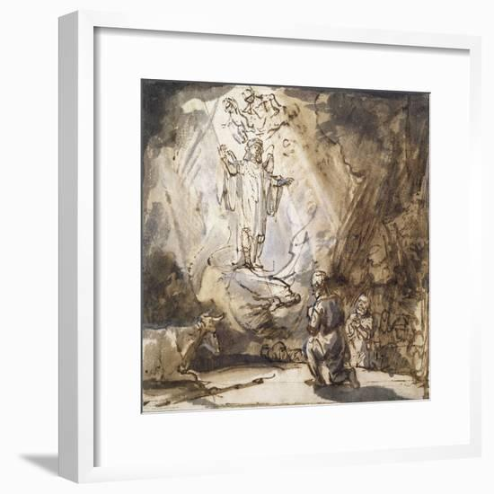 Annunciation to the Shepherds (Pen and Ink on Paper)-Rembrandt van Rijn-Framed Giclee Print