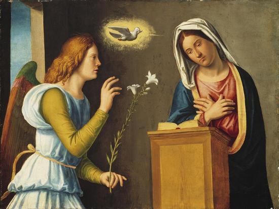 Annunciation to the Virgin, 1500/05 (Paint on Wood Panel)-Giovanni Battista Cima Da Conegliano-Giclee Print