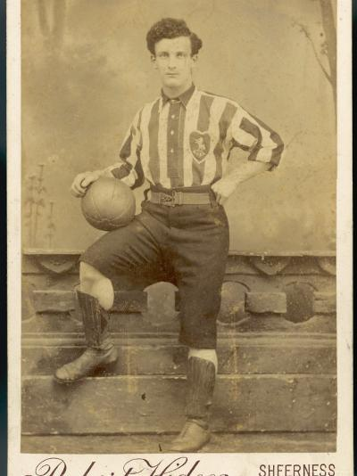 Anonymous Footballer in Kit with Football--Photographic Print