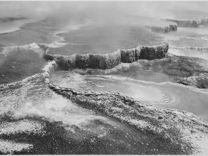 """Aerial View Of """"Jupiter Terrace-Fountain Geyser Pool Yellowstone NP"""" Wyoming 1933-1942 by Ansel Adams"""