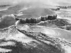 Aerial view of Jupiter Terrace, Yellowstone National Park, Wyoming ca. 1941-1942 by Ansel Adams