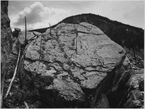 """Boulder With Hill In Bkgd """"Rocks At Silver Gate Yellowstone NP"""" Wyoming 1933-1942 by Ansel Adams"""