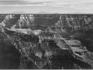 """Broad View With Detail Of Canyon Horizon And Mountains Above """"Grand Canyon NP"""" Arizona 1933-1942 by Ansel Adams"""