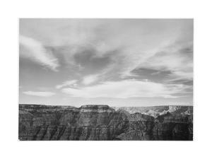"Canyon Edge Low Horizon Clouded Sky ""Grand Canyon National Park"" Arizona. 1933-1942 by Ansel Adams"