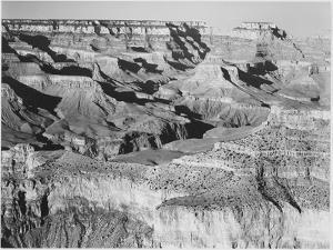 "Canyon With Ravine Winding Through Center High Horizon ""Grand Canyon NP"" Arizona. 1933-1942 by Ansel Adams"