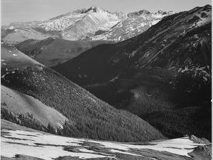 "Close In View Dark Shadowed Hills In Fgnd Mts In Bkgd ""Long's Peak Rocky Mt NP"" Colorado 1933-1942 by Ansel Adams"