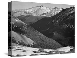 """Close In View Dark Shadowed Hills In Fgnd Mts In Bkgd """"Long's Peak Rocky Mt NP"""" Colorado 1933-1942 by Ansel Adams"""