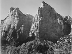 Court Of The Patriarchs Zion National Park Utah 1933-1942 by Ansel Adams
