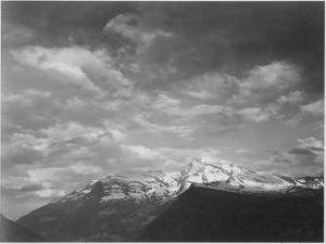 """Dark Foreground And Clouds Mountains Highlighted """"Heaven's Peak"""" Glacier NP Montana. 1933-1942 by Ansel Adams"""