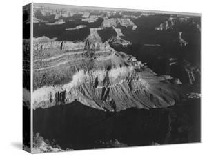 "Dark Shadows In Fgnd & Right Framing Cliffs At Left & Center ""Grand Canyon NP"" Arizona 1933-1942 by Ansel Adams"