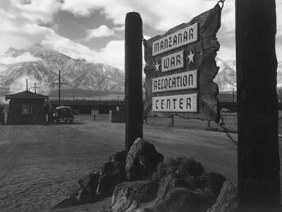 Entrance to Manzanar Relocation Center by Ansel Adams