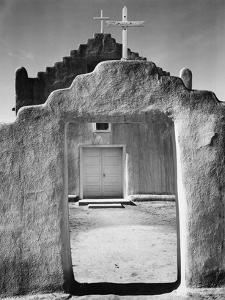 Front view of entrance, Church, Taos Pueblo National Historic Landmark, New Mexico, 1942 by Ansel Adams