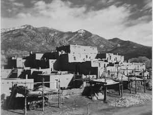 """Full View Of City Mountains In Bkgd """"Taos Pueblo National Historic Landmark New Mexico 1941"""" by Ansel Adams"""
