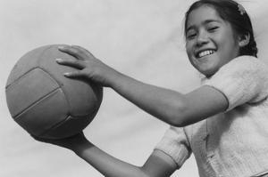 Girl and Volley Ball by Ansel Adams
