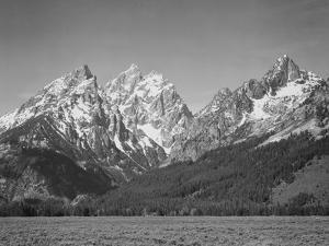 "Grassy Valley Tree Covered Mt Side And Snow Covered Peaks Grand ""Teton NP"" Wyoming 1933-1942 by Ansel Adams"