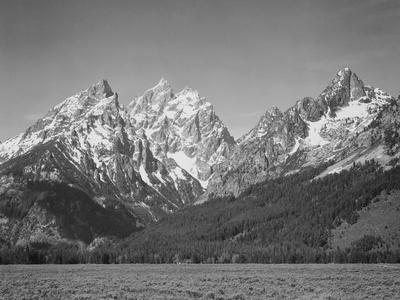 """Grassy Valley Tree Covered Mt Side And Snow Covered Peaks Grand """"Teton NP"""" Wyoming 1933-1942"""