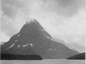 "High Lone Mountain Peak Lake In Foreground ""Two Medicine Lake. Glacier NP"" Montana. 1933-1942 by Ansel Adams"