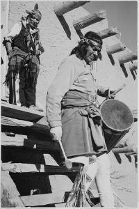 Indian Descending Wooden Stairs With Drum, Dance San Ildefonso Pueblo New Mexico 1942 by Ansel Adams