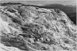 Jupiter Terrace Fountain Geyser Pool Yellowstone National Park Wyoming, 1933-1942 by Ansel Adams