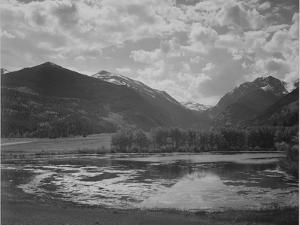 """Lake And Trees In Foreground Mt, Clouds In Background """"In Rocky Mt NP"""" Colorado 1933-1942 by Ansel Adams"""