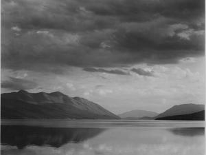 """Looking Across Lake To Mountains And Clouds """"Evening McDonald Lake Glacier NP"""" Montana 1933-1942 by Ansel Adams"""