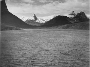 """Looking Across Toward Snow-Capped Mts Lake In Fgnd """"St. Mary's Lake Glacier NP"""" Montana. 1933-1942 by Ansel Adams"""