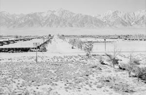 Manzanar from Guard Tower, View West (Sierra Nevada in Background), by Ansel Adams