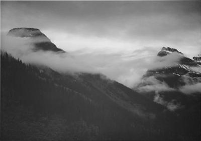 """Mountain Partially Covered With Clouds """"In Glacier National Park"""" Montana. 1933-1942 by Ansel Adams"""