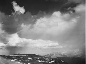 """Mt Tops Low Horizon Dramatic Clouded Sky """"In Rocky Mountain National Park"""" Colorado 1933-1942 by Ansel Adams"""