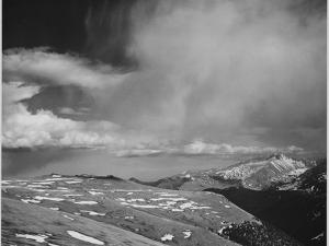 """Mt Tops Low Horizon Low Hanging Clouds """"In Rocky Mountain National Park"""" Colorado. 1933-1942 by Ansel Adams"""