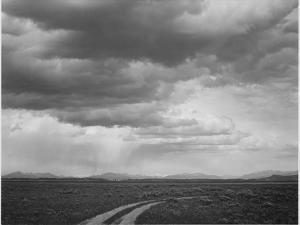 "Roadway Low Horizon Mountains Clouded Sky ""Near (Grand) Teton National Park"" 1933-1942 by Ansel Adams"