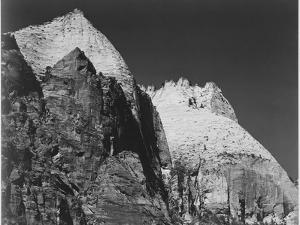 "Rock Formation Against Dark Sky ""Zion National Park 1941"" Utah. 1941 by Ansel Adams"
