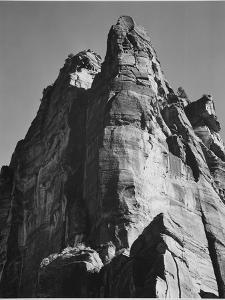 "Rock Formation From Below ""In Zion National Park"" Utah.  1933-1942 by Ansel Adams"