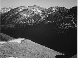 Rocky Mountain National Park Colorado Panorama Of Barren Mountains & Shadowed Valley 1933-1942 by Ansel Adams