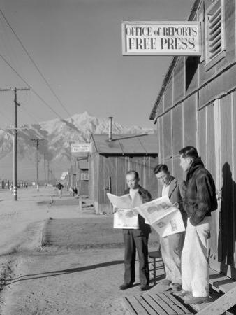 Roy Takeno, Editor, and Group, Manzanar Relocation Center, California