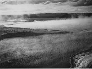 "Steaming Pool In Fgnd High Horizon ""Fountain Geyser Pool Yellowstone NP"" Wyoming 1933-1942 by Ansel Adams"