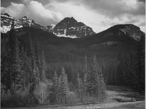 Stream In Fgnd With View Of Trees And Snow On Mts, Wyoming 1933-1942 by Ansel Adams