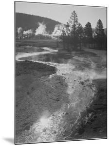 "Stream Winding Back Toward Geyser ""Central Geyser Basin Yellowstone NP"" Wyoming 1933-1942 by Ansel Adams"